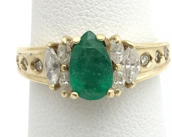 Pear Cut Natural Emerald with Marquis and Round Diamonds - 14K Yellow Gold Size 5.5