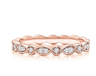 Rose Gold Diamond Wedding Band Bead and Eye Vintage Design Stacking Ring - 14K Half Eternity Band