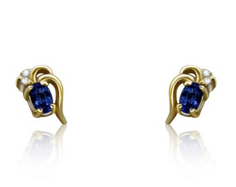 Tanzanite and Diamond 14K Yellow Gold Stud Earrings by Luxinelle