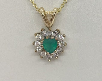 0.28 Carat Heart Emerald and Diamond Pendant 14K Yellow Gold Emerald Necklace by Luxinelle