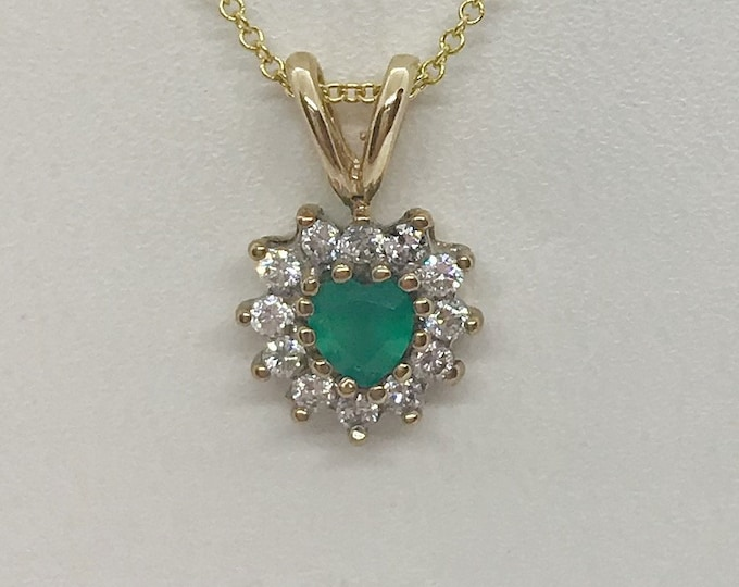 Featured listing image: 0.28 Carat Heart Emerald and Diamond Pendant 14K Yellow Gold Emerald Necklace by Luxinelle