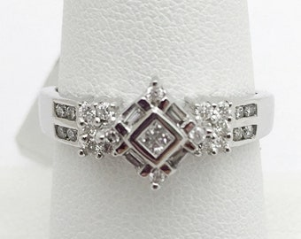 White Gold Unique Diamond Ring - Square - Size 7.25, resizable 14K, Antique Vintage Anniversary Engagement Wedding Birthday Promise