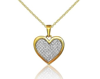 Half Carat Diamond Heart Shaped Pendant - 10K Yellow Gold by Luxinelle