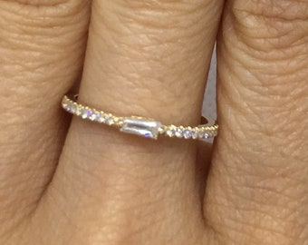 0.27 cttw Single Tapered Baguette Diamond Ring on Pave Diamond Band - 14K Diamond Stacking Ring by Luxinelle 499 Specials