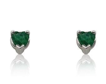 2.27 Carat Emerald Heart Earrings - 14K White Gold Stud Earrings by Luxinelle