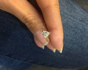 Trillion Cut Diamond Solitaire Ring - Eye Clean 14K Yellow, White or Rose Gold 0.74 Carat Triangle Shape Certified Diamond