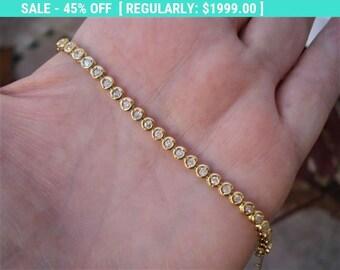 1 Carat 18k Yellow Gold Diamond Tennis Bracelet