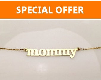 Mommy Necklace - 14K White, Yellow or Rose Gold