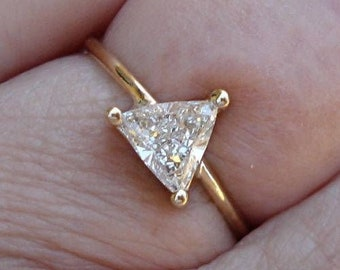 0.50 Carat Unique Trillion Cut Diamond - 14K Yellow, White or Rose Gold - Minimalist Triangle Diamond Ring by Luxinelle