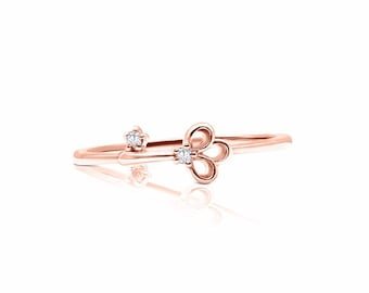 Lock and Key to my Heart Promise Ring - Stacking Thin Diamond Ring by Luxinelle 199 Specials
