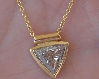 0.74 Carat Trillion Cut Bezel Set Diamond in 14K Yellow, White or Rose Gold - Handmade Large Facing Certified Triangle Diamond