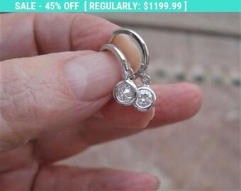 14k White Gold 0.30 Carat Dangling Hoop Bezel Earrings VS2 G Eye Clean Diamonds