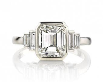 2.23 ct Certified Emerald Cut Baguette Diamond Ring 14K White Gold