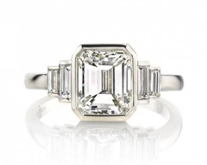 Featured listing image: 2.23 ct Certified Emerald Cut Baguette Diamond Ring 14K White Gold