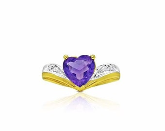 14K Heart Amethyst Ring - 2 Tone Gold - Pisces February Birthstone