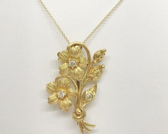 22K Floral Bouquet Flower Bunch with Diamonds Pendant - Yellow Gold by Luxinelle