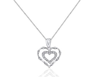 Double Heart with Diamonds Pendant - 14K White Gold Dangling Heart by Luxinelle