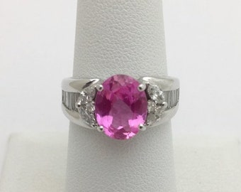 2.93 Carat Pink Topaz and Diamond Ring 18K White