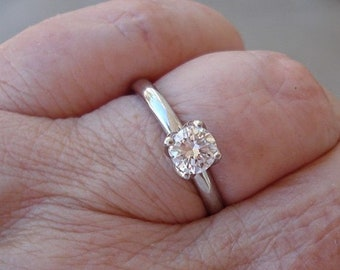 1/2 Carat Diamond Ring GIA 14K White, Yellow or Rose Gold 4 Prong Tulip Setting 0.56 carat G VS2