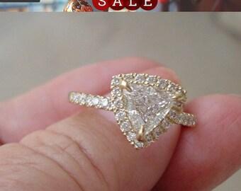 1 Carat Trillion Cut Halo Engagement Diamond Ring - SI2 J EGL Certified Diamond 14K White, Yellow or Rose Gold Triangle Diamond Ring