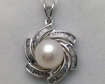 Large Pearl Pendant with Baguette Diamonds Flower Design - 18k White Gold