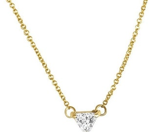 0.50 Carat Trillion Cut Diamond Pendant Necklace - Minimalist 14K Rose, White or Yellow Gold by Luxinelle