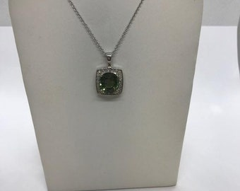 Tourmaline and Diamond Halo Pendant 14k White Gold by Luxinelle