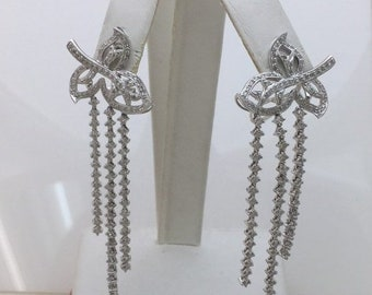 2.47 Ctw Diamond Waterfall Leaf Earrings 18K White Gold for Statement Formal Wedding Occasion by Luxinelle