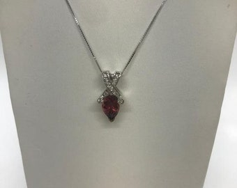 2  Carat Reddish Pink Pear Cut Tourmaline and Diamond Twist Pendant on a Chain Necklace - 14K White Gold by Luxinelle