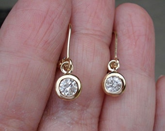 0.40 Carat Bezel Diamond Dangle Drop Earrings in 14K Yellow Gokd, Rose Gold or White Gold Leverback, Diamond Earrings
