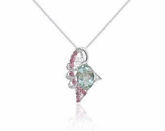 5.34 Ctw Aquamarine Pink Tourmaline and Diamond Pendant in 14k White Gold