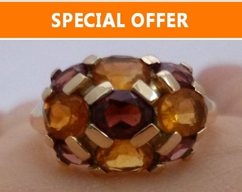 Citrine and Garnet Yellow Gold Ring - November & January Multicolor Orange and Brown Gemstones Resizable