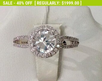 1.05 Carat White Sapphire Diamond Halo Ring - Alternative Engagement Ring - Diamond Cut Natural White Sapphire