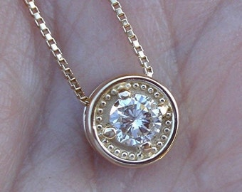 Yellow Gold Diamond Solitaire Pendant Necklace 14K