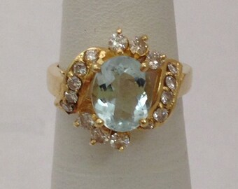 Aquamarine Diamond Ring - 14k Yellow Gold Diamond Accents Oval Cut Aquamarine Stone March Birthstone