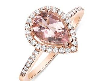1 Carat Rose Gold Morganite Ring - Pear Teardrop Shape with Diamond Halo