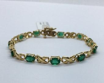 Yellow Gold Emerald Stone Bracelet - Oval Cut 14K Natural Green Gemstone Link Bracelet 7 Carat by Luxinelle Jewelry