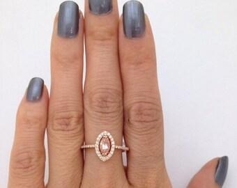 0.62 Carat Marquise Morganite Rose Gold Diamond Halo Ring 14K