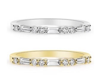 Ring of Baguette and Round Diamonds Band - Rose, Yellow and White Gold 18K Wedding Band Anniversary Ring Band