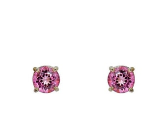 3.86 Carat Pink Topaz Stud Earrings in 4 Prong 14K White Gold by Luxinelle