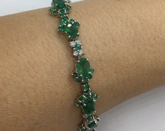 13.27 Carat Emerald and Diamond 14K White Gold Link Formal Statement Bracelet - 7 inches by Luxinelle