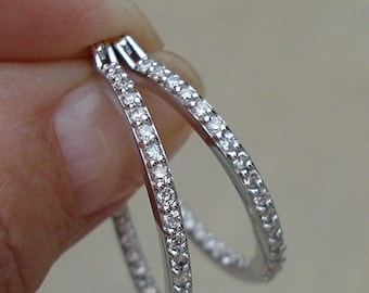 1 Carat Diamond Inside Outside Hoop Earrings - 1 inch - 14K White Gold