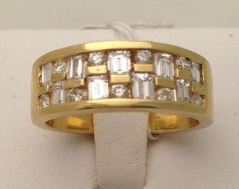 14K Wide Band Yellow Gold with Baguette and Round Diamonds by Luxinelle