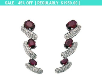 4.3 Carat Red Ruby and Diamond Drop Earrings 18K White Gold by Luxinelle