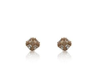 Rose Gold Diamond and White Topaz Earrings 14K French Clip