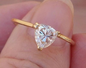 Trillion Cut Diamond Solitaire Ring 14K Yellow, White or Rose Gold 0.74 Carat Triangle