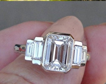 2.23 ct Certified Emerald Cut Baguette Diamond Ring 14K White Gold