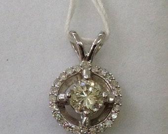 0.24 Carat Diamond Solitaire Pendant with Diamond Halo 14k White Gold