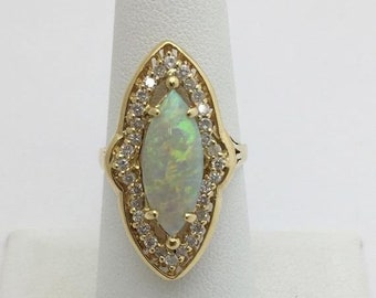 Big Marquise 1.76 Carat Opal Diamond Ring - 14K Yellow Gold
