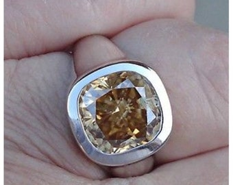 Golden Yellow Brown Moissanite Bezel Ring - Cushion Cut 3.8 Carat 14K White Gold